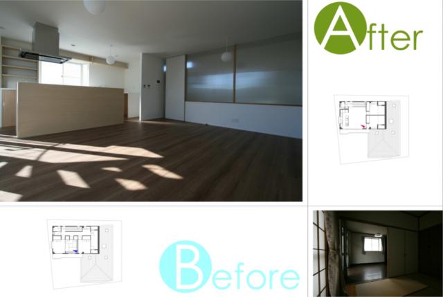 3階 リビングダイニング/息子さんご家族が集うリビングダイニングは、間仕切りを取り除き、対面型キッチンを設けて広々とした空間に。当初、奥の木枠は白く塗る予定だったが、デザイン的なバランスを見て、そのまま木の質感を生かすこととした