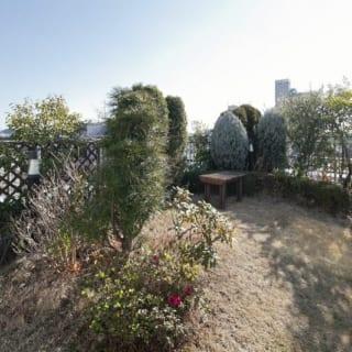 7階(自邸)屋上庭園/奥さまの提案で土を盛り、表情豊かになった屋上庭園は造園会社に勤めるYさんが手掛けた。お孫さんたちの遊び場としても活躍するが、眺望も特筆もの。富士山や都心のビル群の夜景を望み、夏は近隣の花火大会を鑑賞する絶好のスポットに