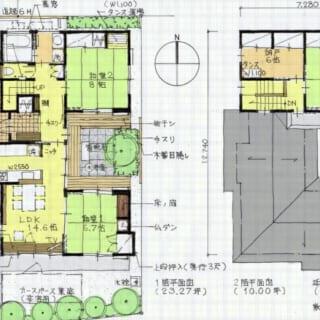 図面/中庭を囲むコの字型の造り。必要なスペースがすっきりと効率的に配置され、生活空間である1階のどこにいても中庭を眺めることができる