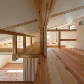 ロフト/北に向かって高くなる屋根を利用し、収納用のロフトをつくった。構造的に必要な梁も、愛猫にとっては願ってもない遊具。ロフト内にはハイサイドの窓も設けている。階下で開閉可能で、空気の出入口となる