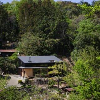 森林公園から見たMさん邸。大自然にひっそりと佇むその姿が美しい。