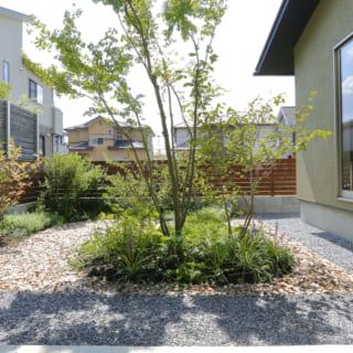 ゆったりと贅沢なスペースをとった庭。各居室は庭のまわりに配置し、部屋からの風景に彩を与えている。
