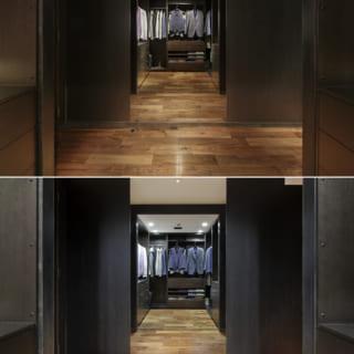 佐竹さんが考案した!ウォークスルー・クローゼット。扉を開けると、まるでオシャレな高級ブティックのような雰囲気を感じさせてくれる