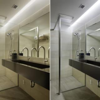バスルームは、一日中いつでも気軽に使えるような、使い勝手のよい、スタイリッシュなデザイン。水圧ではなく水量にこだわったシャワールームだ
