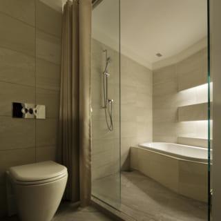 ハイクラスのホテルのようなバスルーム。ガラスの仕切りとシャワーカーテン付きのゲスト用バスルームだ