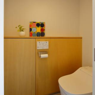 外壁側に設けられたトイレ。外壁の斜めのラインを腰高の収納スペースとすることで、ゆったりとしたトイレとなっている