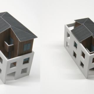コンクリートの耐火外壁に囲まれたマス内に、「ト」の字形の木造建物を建てる構想イメージ