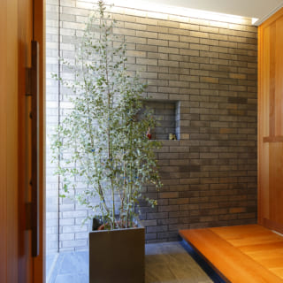 スリットガラスで内と外が繋がったデザインの玄関。外からの視線を遮るため、大きめの観葉植物を配することで、自然の温もりを感じられるスペースに