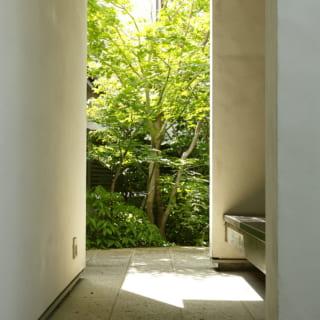 緑のアプローチと玄関の間につくられたベンチスペース。ここも、ホッとくつろげる居場所の1つ