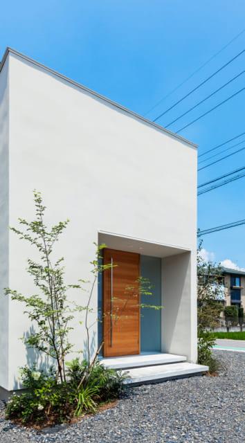 玄関は両サイドがフィックス窓、玄関ドアはウエスタンレッドシダーで製作。この玄関の上にルーフテラスが設けられている