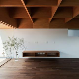 天井は軒梁を格子状の構造体に。ラワンベニヤとは思えないほど美しい仕上がり。オリジナルのテレビボードは壁付けタイプ
