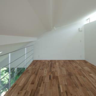 3階メザニンフロア(寝室)。隣家の緑が見えるように窓を切っており、季節ごとに光の入り方が変わる