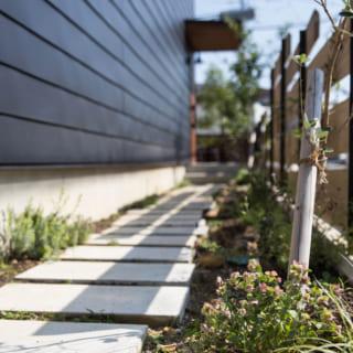 玄関へと続くアプローチには「通り庭」としての役割を持たせることに。都市部にありながら、緑を感じられる空間となっている