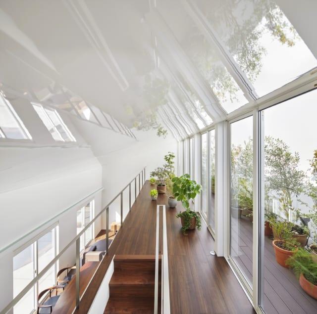 日当たり抜群の2階では、Hさまご夫妻が大切にしている植物がすくすく育つ。テラスの緑から天井に映る緑まで、きらめく緑に180度包まれる空間。万華鏡の中に入ったような楽しさがある