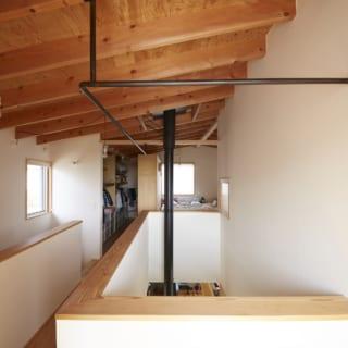 2階。写真左が階段。中央には1階の薪ストーブの煙突を通す吹抜けがあり、階下の様子もそれとなくわかる。奥に見えるのはファミリークローゼットと寝室