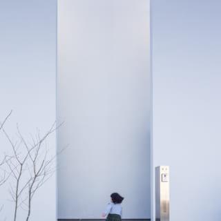 この家のシンボルともいえる、白壁のファサード。壁の隙間に吸い込まれていきそうだ