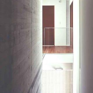 2階から3階へ向かう階段上部からの眺め。階段沿いの左の壁はスギ板の型枠で木目をつけたコンクリート。階段上にはトップライトがあり、コンクリートに残る木の表情を自然光が柔らかく照らし出す