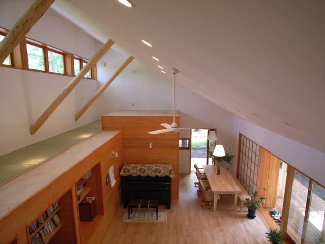 北側(写真左)に、箱型で水回りをまとめることで、勾配屋根の高さを活用。空間の広がりと採光・通風を可能に