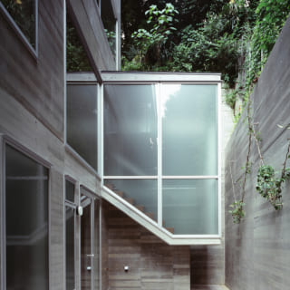 賃貸世帯のドライエリアから階段室を見る。空中に浮かぶように見えるデザインがモダンで軽やかな印象
