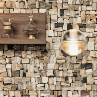 キッチン背後の壁は樹木が化石化した木化石(もっかせき)。表情豊かなモザイクが魅力的なアクセントに