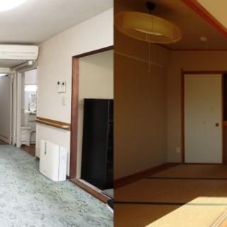 建物竣工当時の同等別住戸の様子(左)と、約20年前に改修された蟻川邸の間取りの様子。 それぞれ当時のモダンを体現した室内となっていた