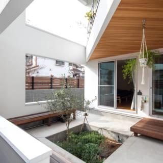庭から道路側を見る。H邸は住居の屋根、柱、梁、壁などを伸ばして庭も囲った造りだが、庭の壁を大きく開口しているので空もしっかり見える。写真奥はL字の建物の1辺にある子ども室。手前のもう1辺には主寝室がある。どちらも庭に面し、光や風がたっぷり入る