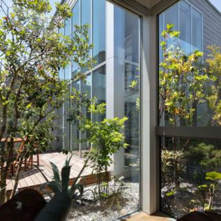 娘さんの寝室。ル・コルビュジェの名作シェーズロングLC4に身をゆだねながら見る中庭の景色は時を忘れさせる心地よさ