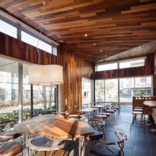 カフェがあるのは、敷地の中で交差点に一番近い場所。客席スペースはガラス張りで街とのつながりを感じられる。木の温もりと、連続窓やハイサイド窓から入る明るい光に包まれて、空や緑を眺めながらお茶の時間を楽しめる
