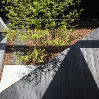 三角形の開口からの光が三角形の中庭・デッキに差し込み、幾何学的な陰影をつくり出す